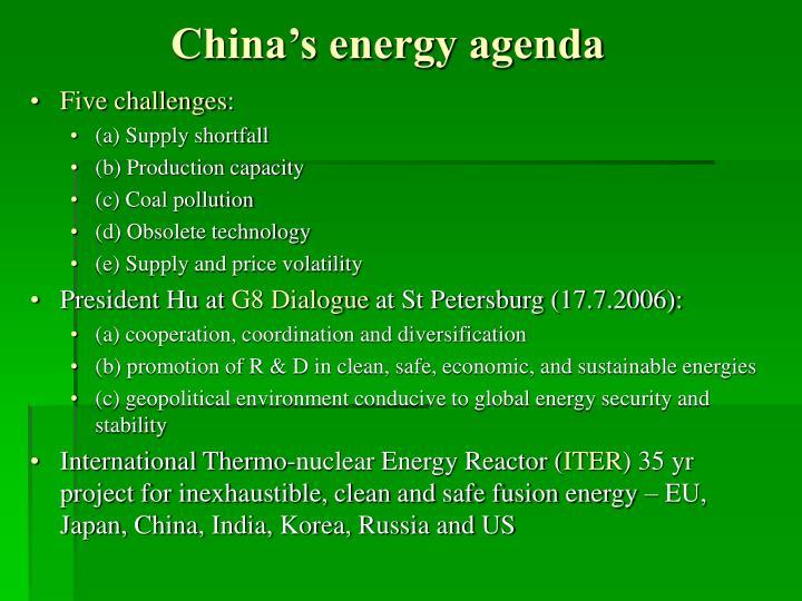 China's energy agenda
