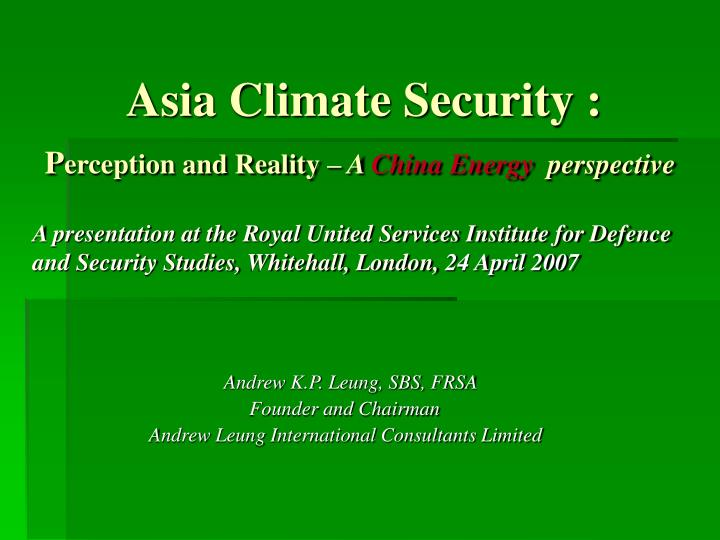 Asia Climate Security :