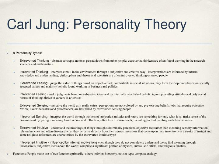 carl jung's theory concerning personality types Senior circles: jung's theories give meaning to an aging population  i didn't  know about jung is that the myers-briggs type inventory was.