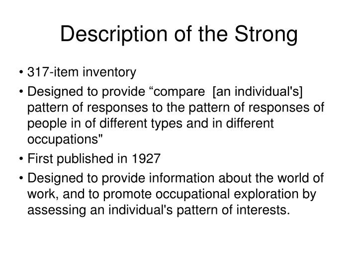 Description of the Strong