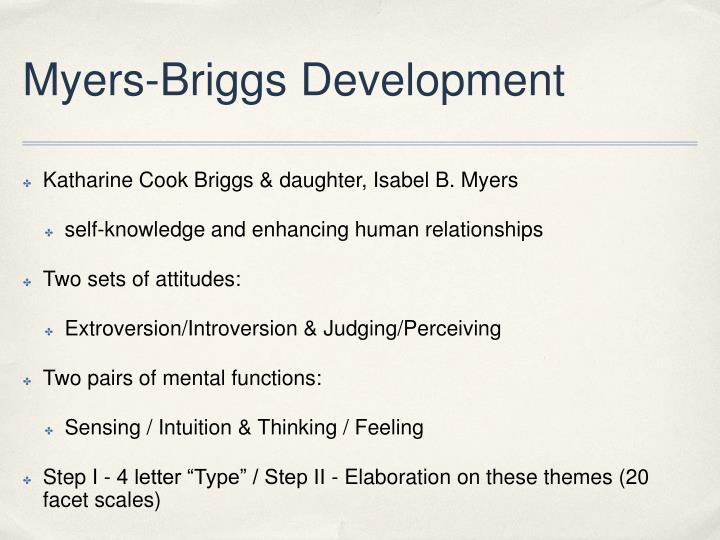 Myers-Briggs Development