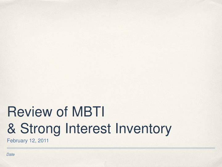 Review of MBTI