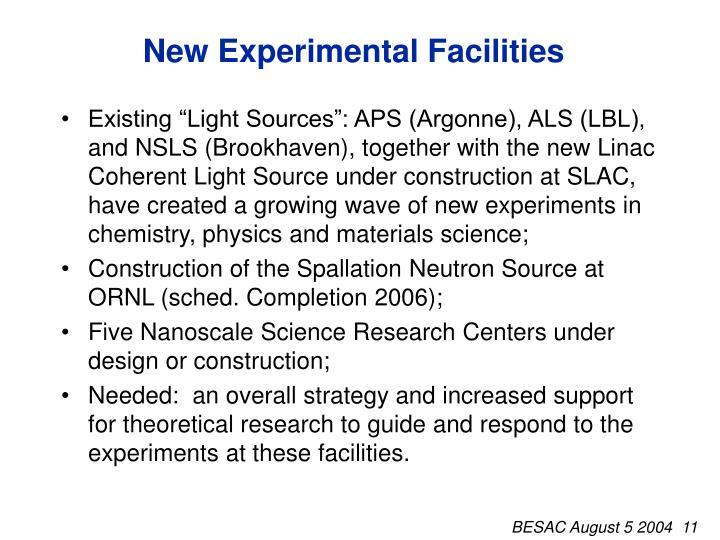 New Experimental Facilities