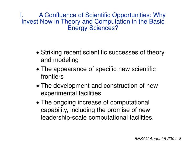 I.A Confluence of Scientific Opportunities: Why Invest Now in Theory and Computation in the Basic Energy Sciences?