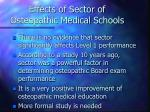 effects of sector of osteopathic medical schools