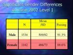 significant gender differences on june 2002 level 1