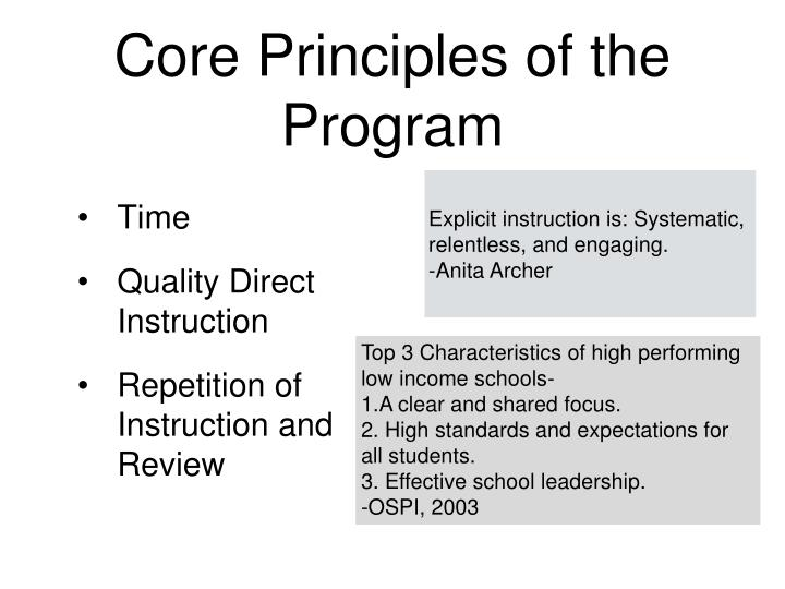 Core principles of the program