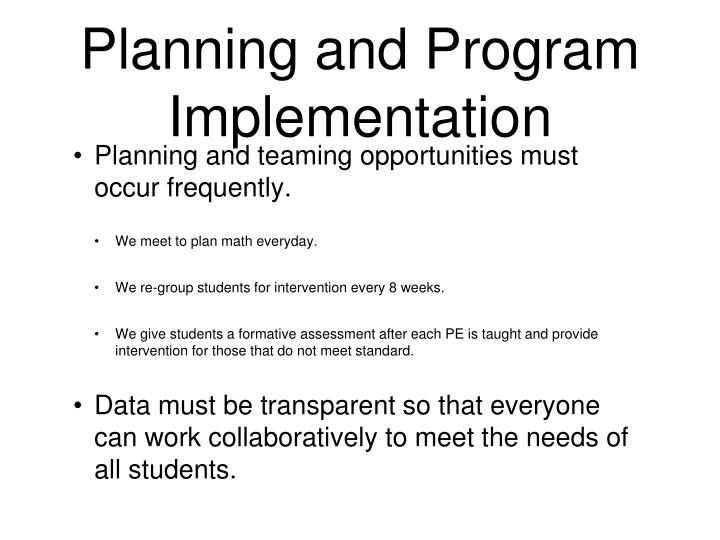 Planning and Program Implementation