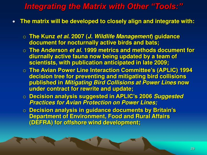 """Integrating the Matrix with Other """"Tools:"""""""