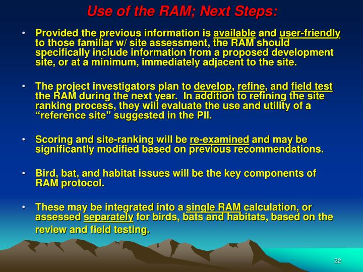 Use of the RAM; Next Steps: