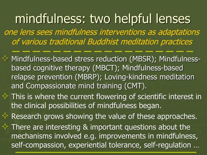 Mindfulness two helpful lenses
