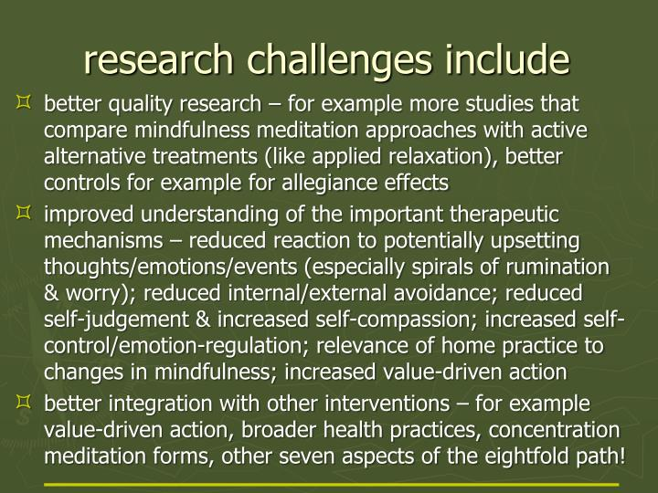 research challenges include