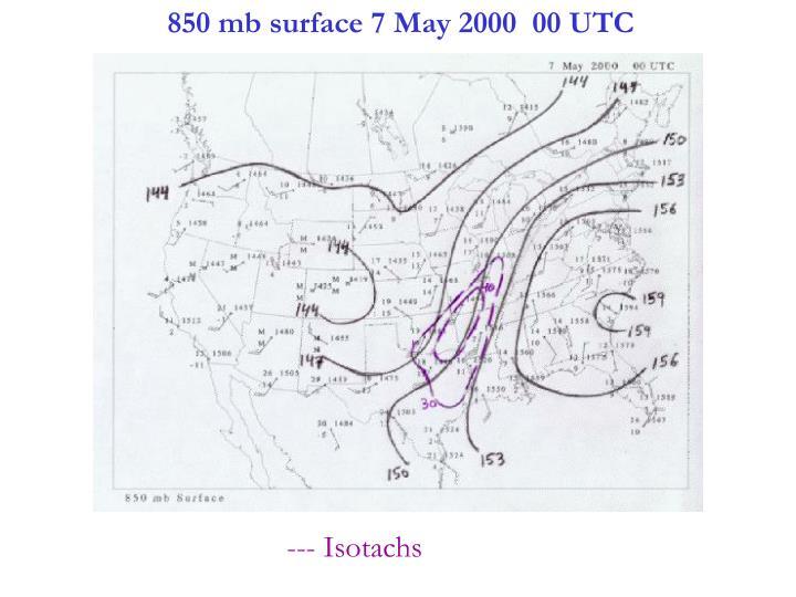 850 mb surface 7 May 2000  00 UTC