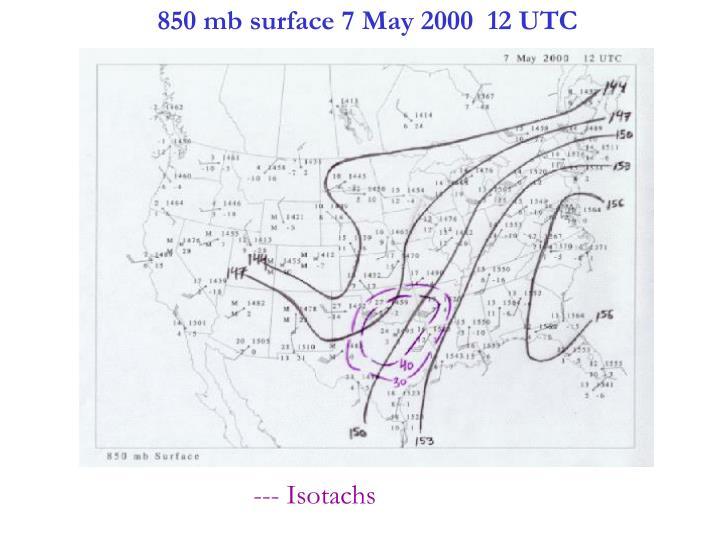 850 mb surface 7 May 2000  12 UTC