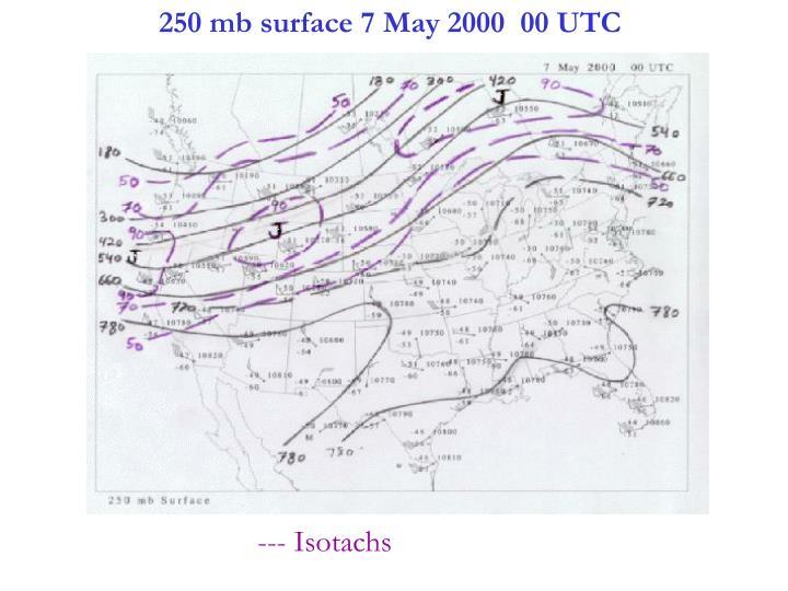 250 mb surface 7 May 2000  00 UTC