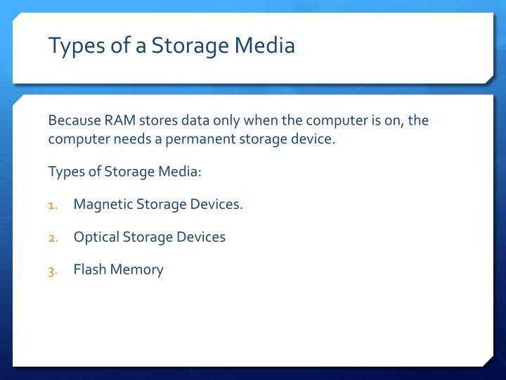 Types of a storage media