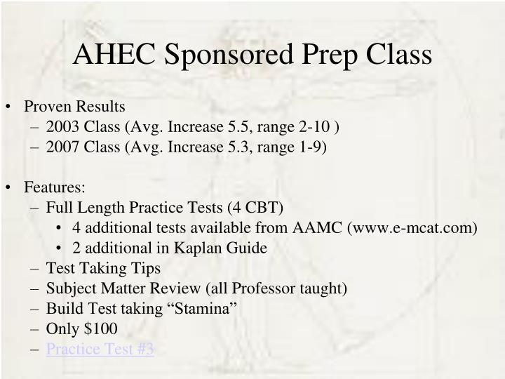 AHEC Sponsored Prep Class