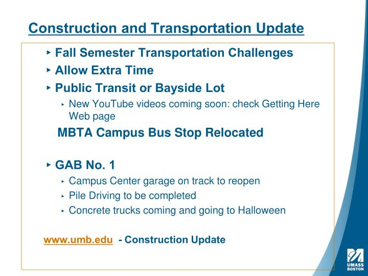 Construction and transportation update