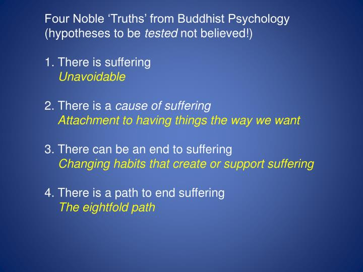 Four Noble 'Truths' from Buddhist Psychology