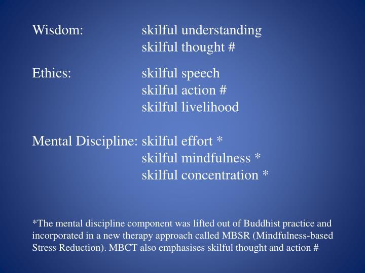 Wisdom:skilful understanding
