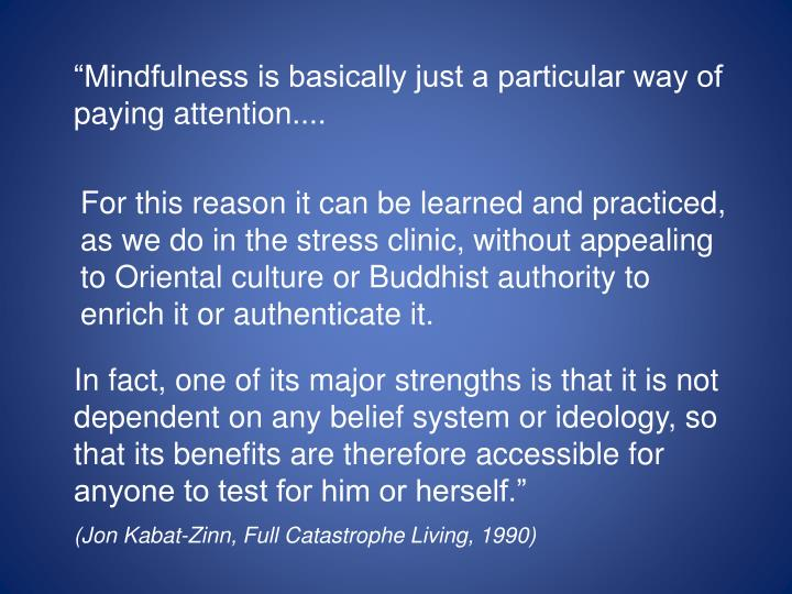 """""""Mindfulness is basically just a particular way of paying attention...."""