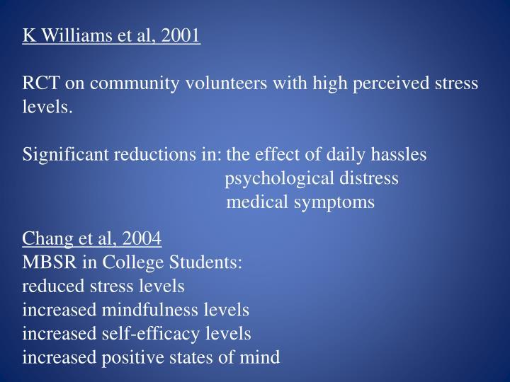 K Williams et al, 2001