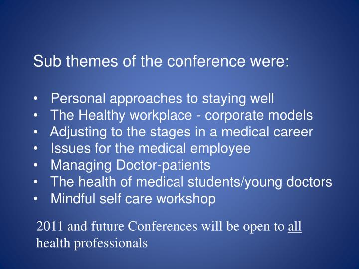 Sub themes of the conference were: