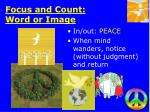 focus and count word or image