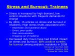stress and burnout trainees