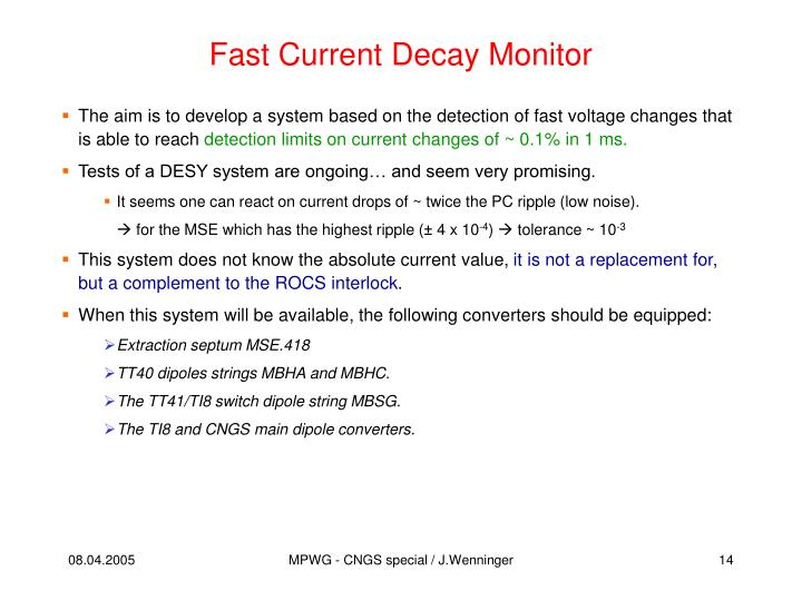 Fast Current Decay Monitor