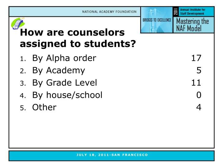 How are counselors assigned to students?