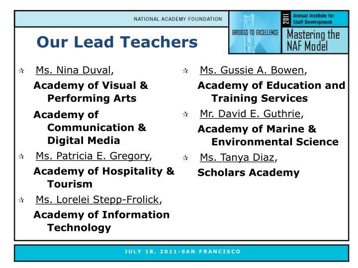 Our Lead Teachers