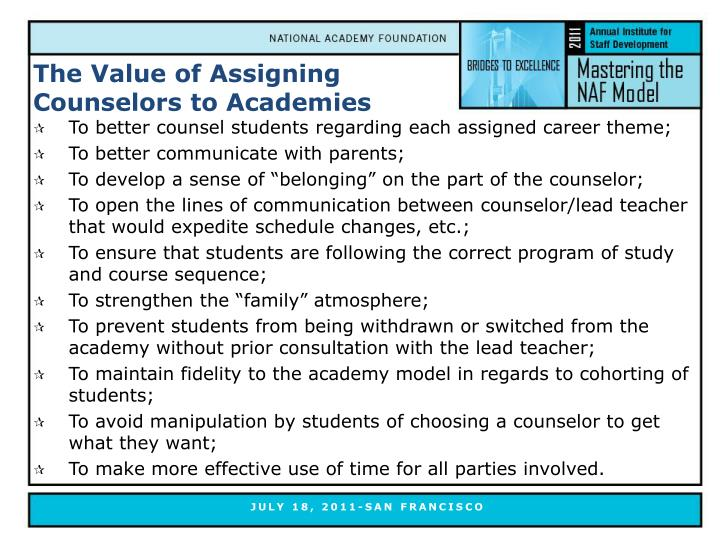 The Value of Assigning Counselors to Academies