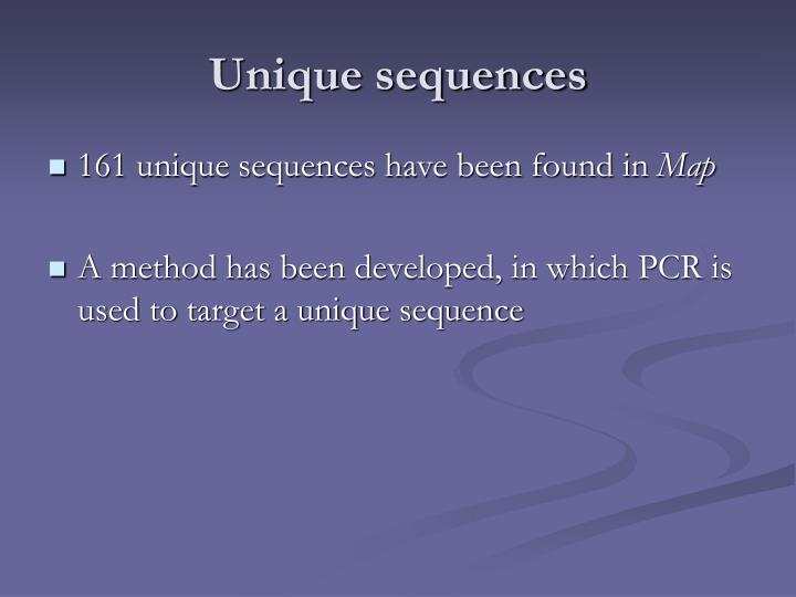 Unique sequences