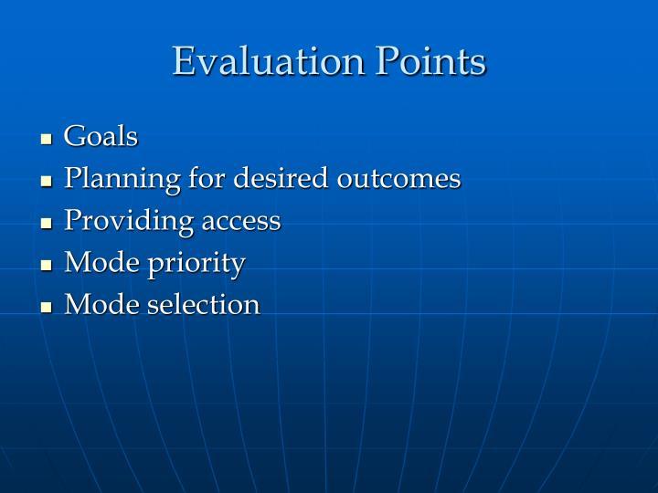 Evaluation points