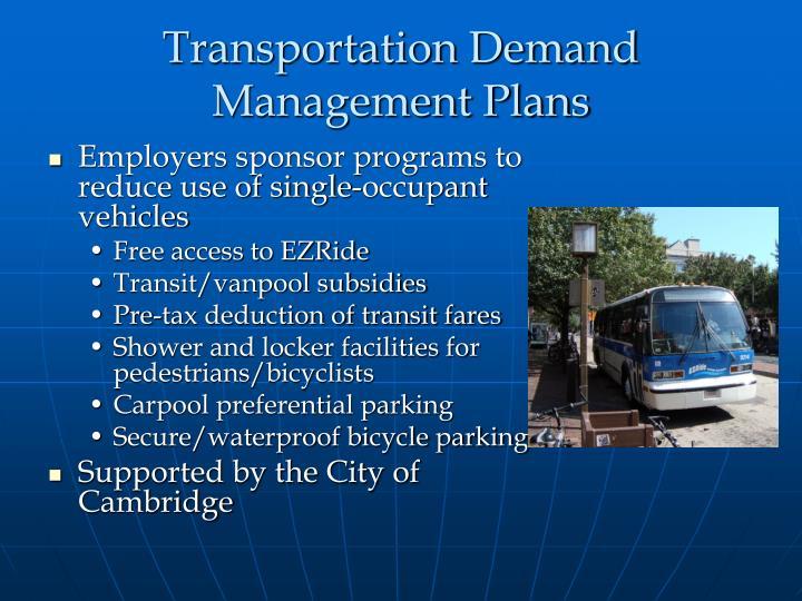 Transportation Demand Management Plans