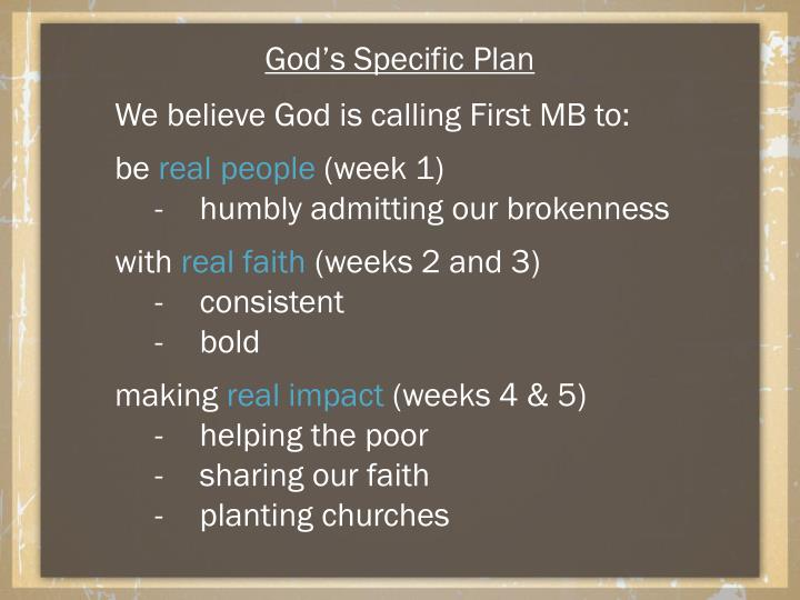 God's Specific Plan