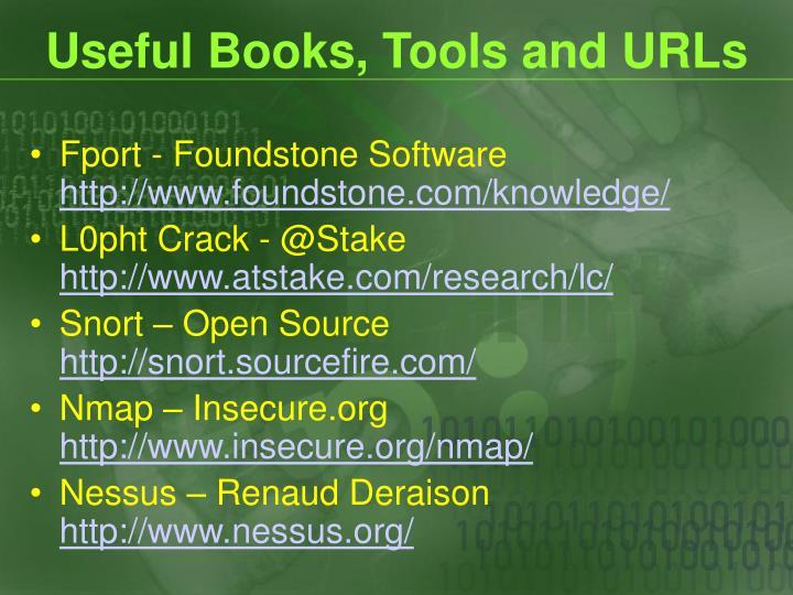 Useful Books, Tools and URLs