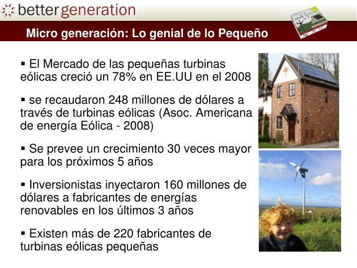 Micro generación: Lo genial de lo Pequeño