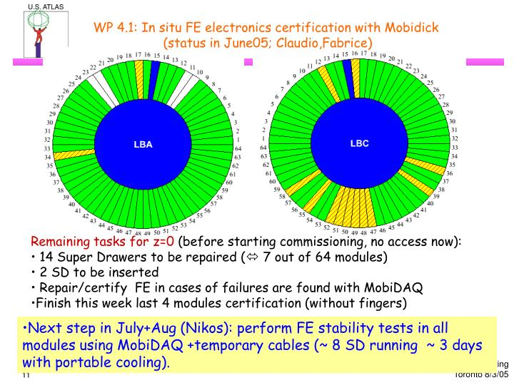 WP 4.1: In situ FE electronics certification with Mobidick