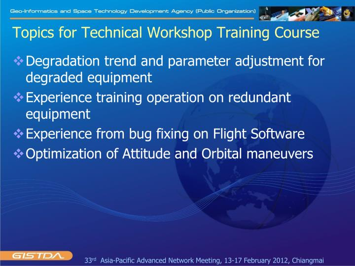 Topics for Technical Workshop Training Course