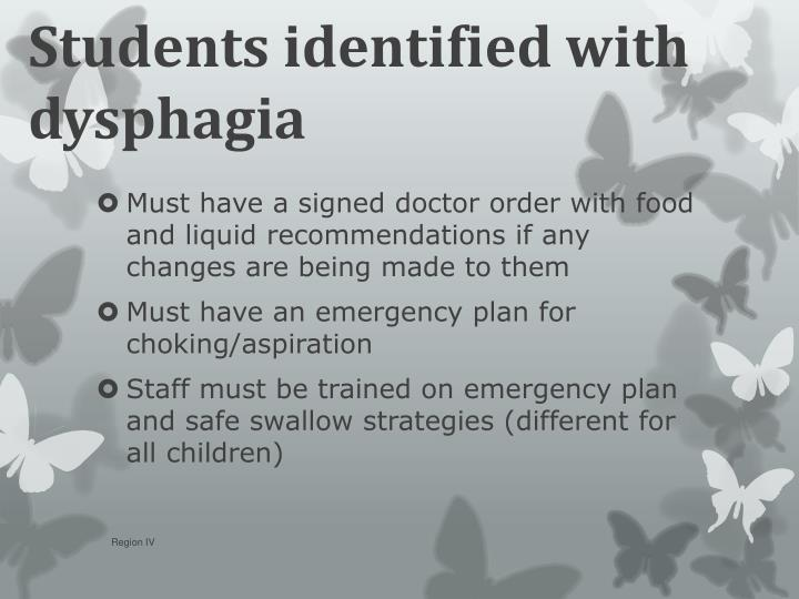 Students identified with dysphagia
