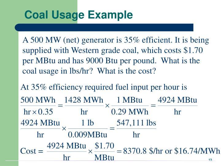 Coal Usage Example