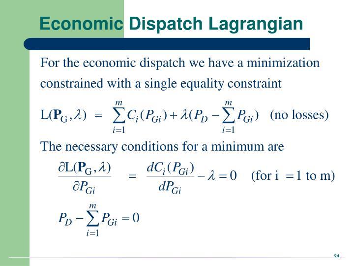 Economic Dispatch Lagrangian