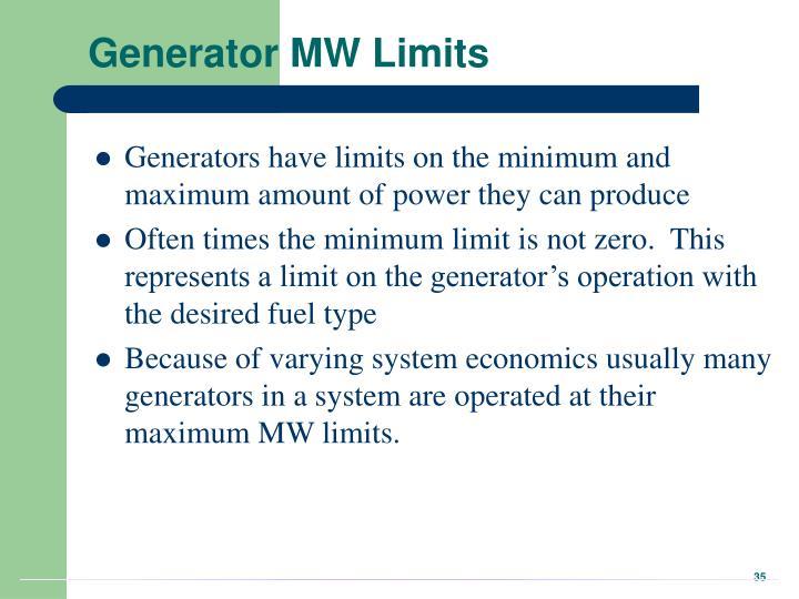 Generator MW Limits