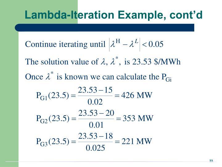 Lambda-Iteration Example, cont'd