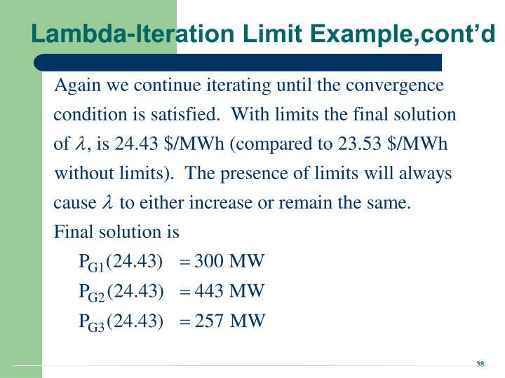 Lambda-Iteration Limit Example,cont'd