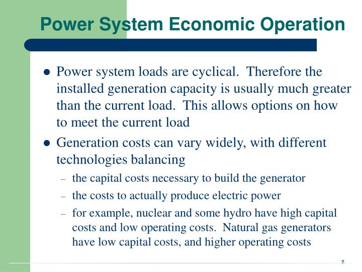Power system economic operation