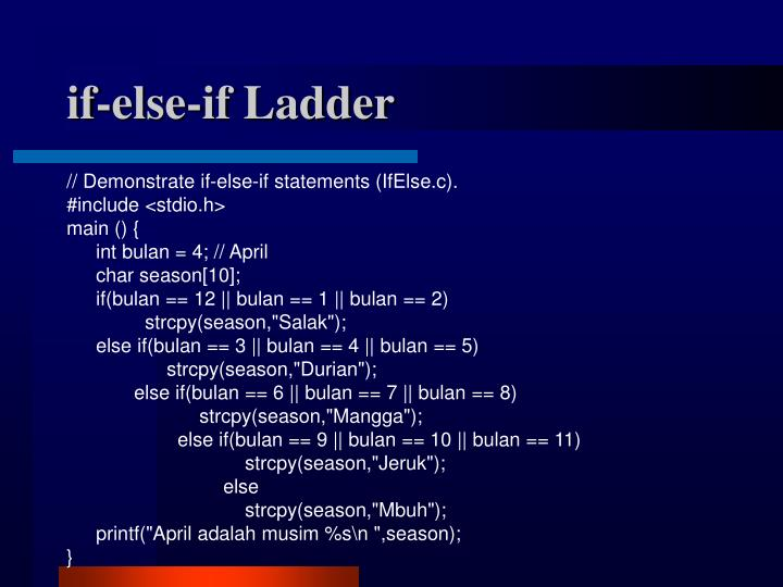 if-else-if Ladder