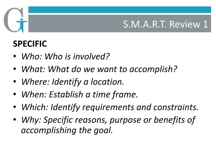 S.M.A.R.T. Review 1